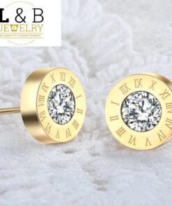 Cercei Elegant Beauty Numerals Crystal Gold Color